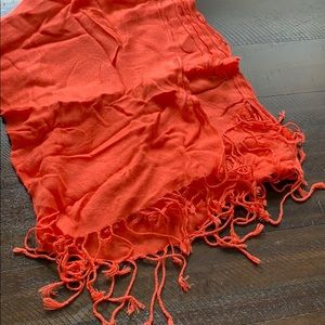 Coral pink pre loved scarf-super long!
